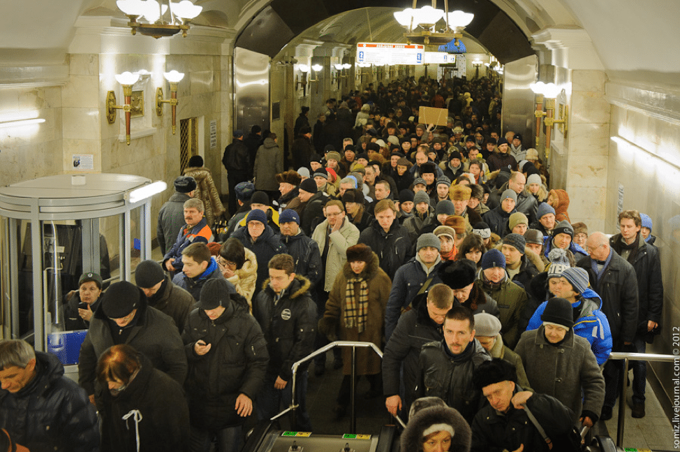 Moscow Metro during peak hours